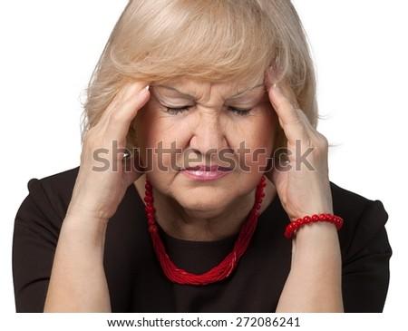 Ache. Businesswoman with headache - stock photo