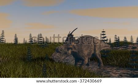 achelousaurus in prehistoric landscape - stock photo