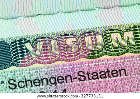 ACHENKIRCH, AUSTRIA : APRIL 2015 : Closeup of the Schengen visa to Europe with shallow DOF, focusing on the word VISUM, in Achenkirch, Austria on April 07, 2015 - stock photo
