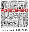 Achievement and success concept related words in tag cloud isolated on white - stock vector