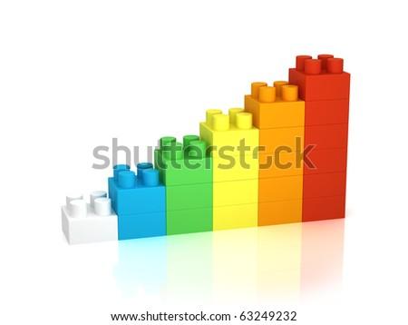 Achievement chart from building blocks - stock photo