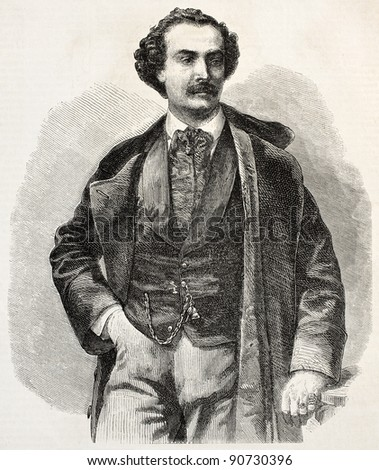Achille-Felix Montaubry old engraved portrait. French musician and operatic tenor. Created by Marc, published on L'Illustration, Journal Universel, Paris, 1858 - stock photo