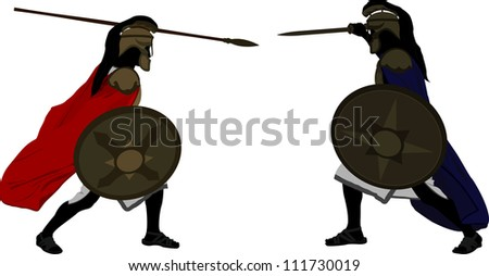 Achilles and Hector. raster variant - stock photo