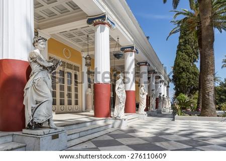 Achillion palace in Corfu island , Greece - stock photo