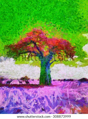 acid colors African Baobab tree landscape psychedelic oil painting - stock photo