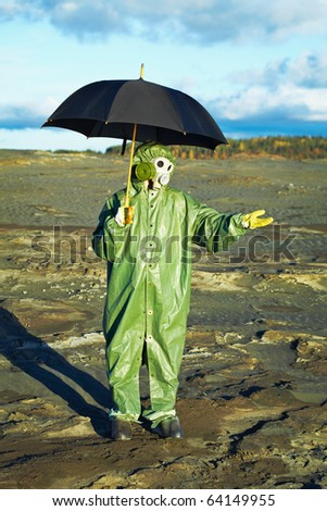 Acid rain and men with umbrella. Chemical environment pollution concept.