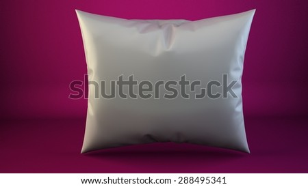 aclose up of a white pillow on pink 3d render - stock photo