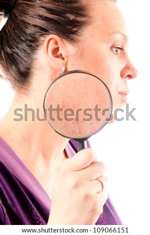 Acne problems close up isolated on white - stock photo