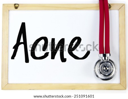 acne word write on blackboard - stock photo