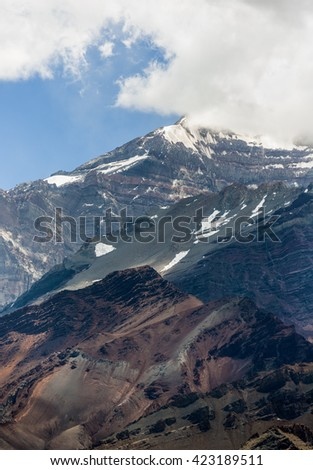 Aconcagua (6962 m) which is highest mountain in the Americas - Aconcagua Provincial Park, Mendoza province, Argentina, Latin America