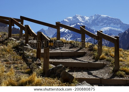 Aconcagua, the highest mountain in the Americas at 6.960 mts., located in the Andes mountain range in Mendoza, Argentina.  - stock photo