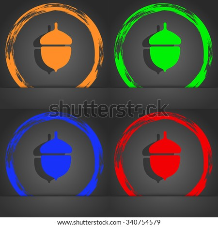 Acorn icon symbol. Fashionable modern style. In the orange, green, blue, green design. illustration - stock photo