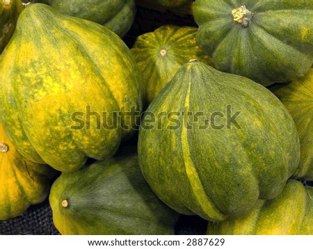 Acorn squash displayed for sale in a northern Virginia market. - stock photo