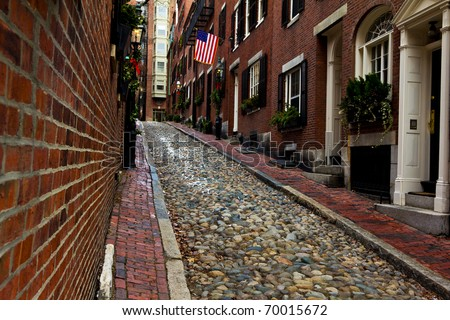 Acorn Street in Boston, Massachusetts. - stock photo