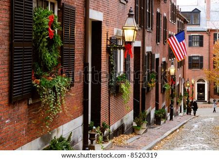 Acorn Street, old Boston charm in Beacon Hill - stock photo