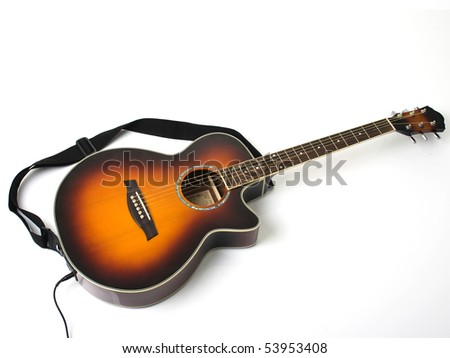Acoustic and electric guitar - stock photo
