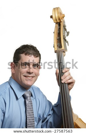 Acoustic bass player leaning against his instrument - stock photo