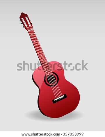 acoustic classic guitar illustration isolated on white background