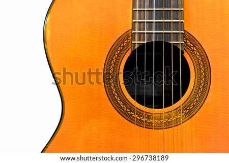 Acoustic classical guitar isolated on white background. Front view. Close up - stock photo