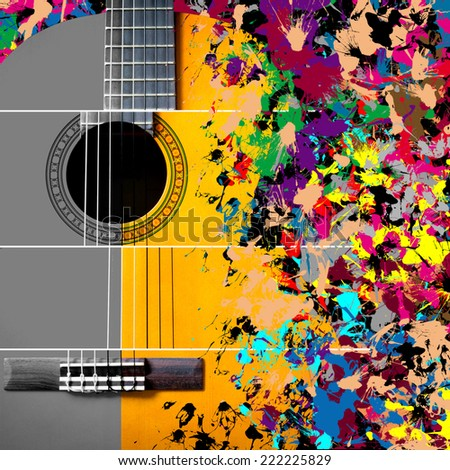 acoustic, classical guitar on splashing vibrant & colorful background / concept = music is unlimited creative art - stock photo