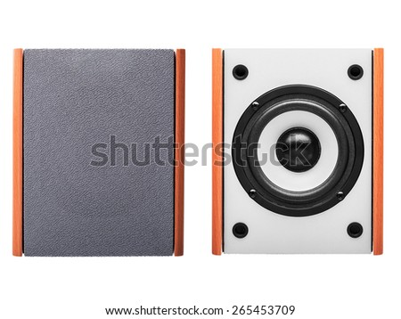 Acoustic column of gray color with finishing under a tree on a white background the front view with a signature stamp and without, the white loudspeaker with a black subweight and a black dome nobody. - stock photo