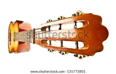 Acoustic cutaway guitar isolated over white background - stock photo