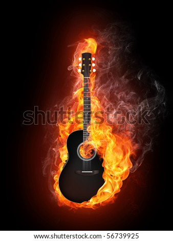 Acoustic - Electric Guitar in Fire Flame Isolated on Black Background - stock photo
