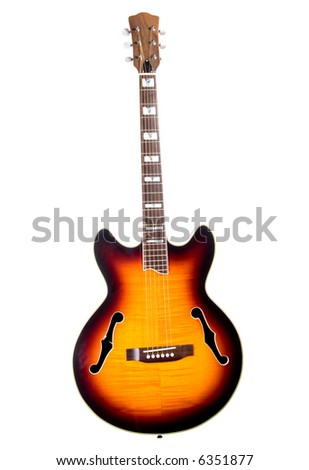 Acoustic electric 6 string guitar shot in studio over white - stock photo