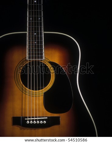 Acoustic flattop guitar - stock photo