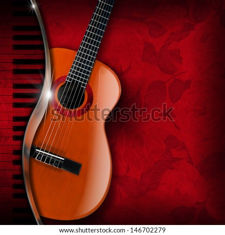 Acoustic Guitar and Piano Red Flowers / Acoustic brown guitar and piano against a red floral background   - stock photo