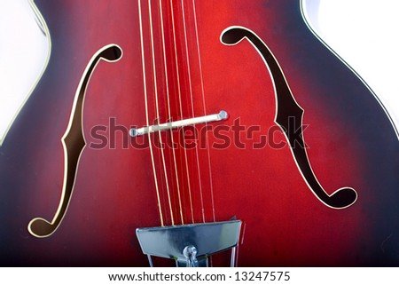acoustic guitar closeup - stock photo
