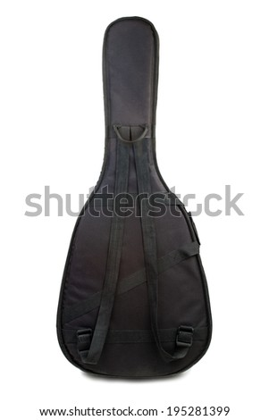 Acoustic guitar gig bag isolated on a white background - stock photo