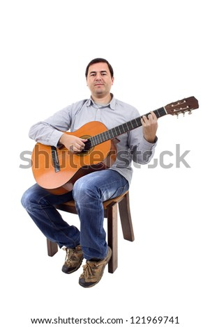 Acoustic guitar guitarist man classical - stock photo
