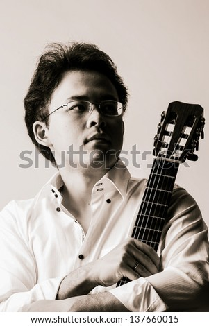 Acoustic guitar guitarist man classical. Classic player music play