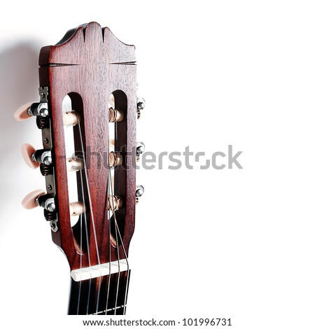 Acoustic guitar head neck on white background