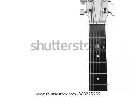 acoustic guitar in black and white vintage style