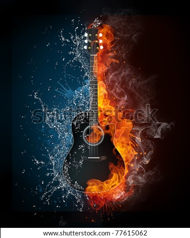 Acoustic guitar in fire and water. Illustration of the acoustic guitar in elements isolated on black background. High resolution acoustic guitar in fire and water image for a guitar concert poster. - stock photo