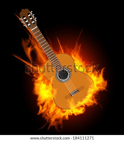 Acoustic guitar in fire flame.  illustration on black