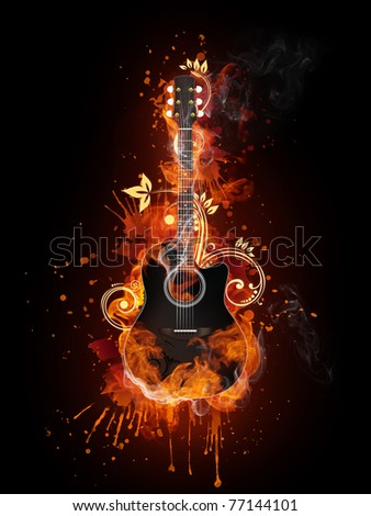 Acoustic guitar in fire. Illustration of the acoustic guitar enveloped in flames isolated on black background. High resolution acoustic guitar in fire image for a guitar concert poster or banner. - stock photo