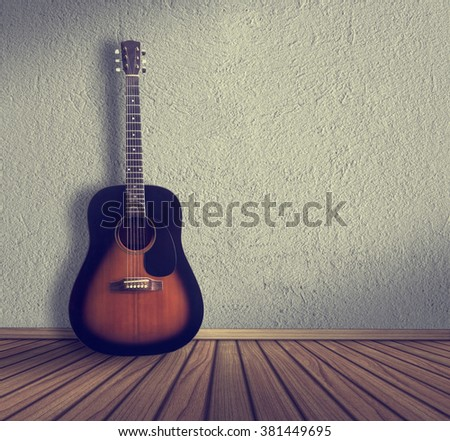 acoustic guitar in the room background