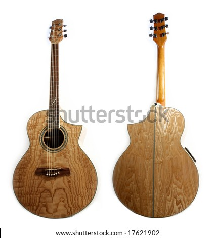 Acoustic guitar isolated - stock photo