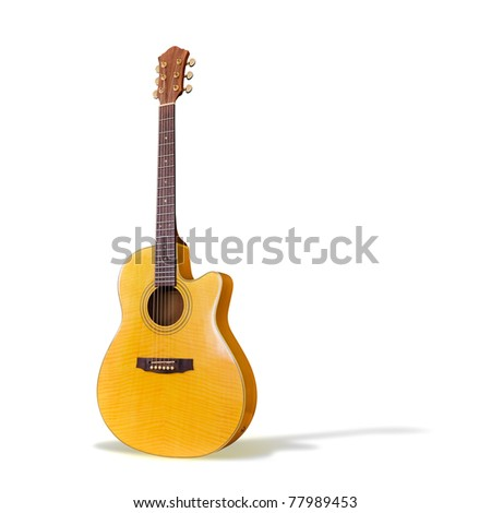 Acoustic Guitar/Isolated - stock photo