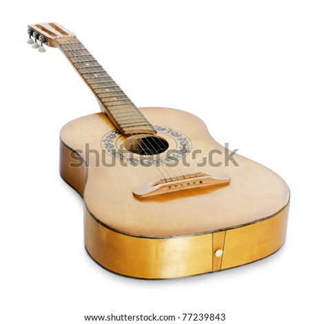 Acoustic guitar  isolated on a white - stock photo