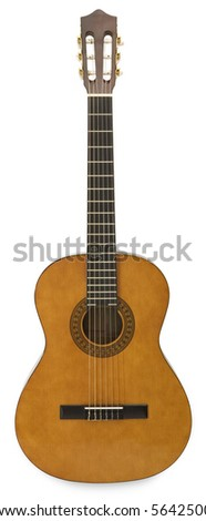Acoustic Guitar - isolated on white - stock photo