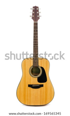 Acoustic guitar isolated on white background. - stock photo