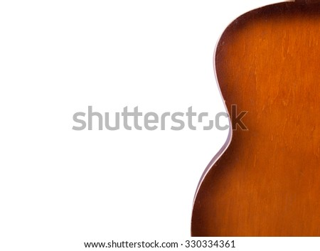acoustic guitar isolated on white background closeup