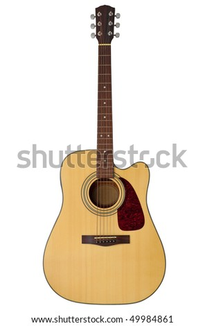 Acoustic guitar isolated on white with clipping path - stock photo