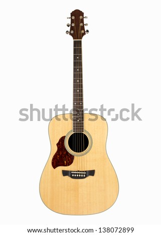 Acoustic guitar isolated over white background