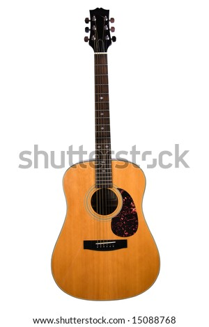 Acoustic guitar isolated with path.