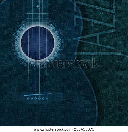 Acoustic guitar jazz - stock photo